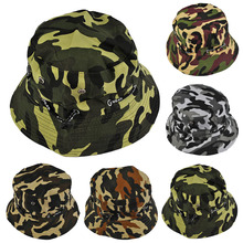 64624d41a96bf Summer Mens Women Camo Camouflage Military Hip Hop Bucket Hat Fisherman Hats