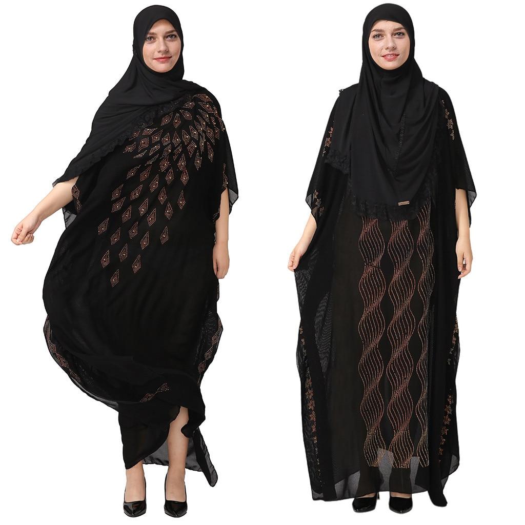 National Style Dubai Abaya Women Muslim Dress Loose Abaya Kaftan Turkish Muslim Women Long Dress Turkish Islam  Muslim Dress A