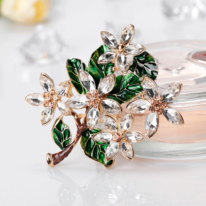 Green Tree Shiny Crystal Brooches Resin Brooch Drop Oil Enamel Pins for Girls Women Party Gifts Floral Jewelry Accessories
