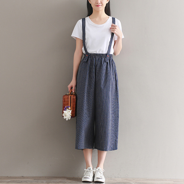 Women Summer Striped Overalls Slim Bottom Suspender Trousers Ankle-Length Elastic Waist Female Loose Casual   Wide     Leg     Pants