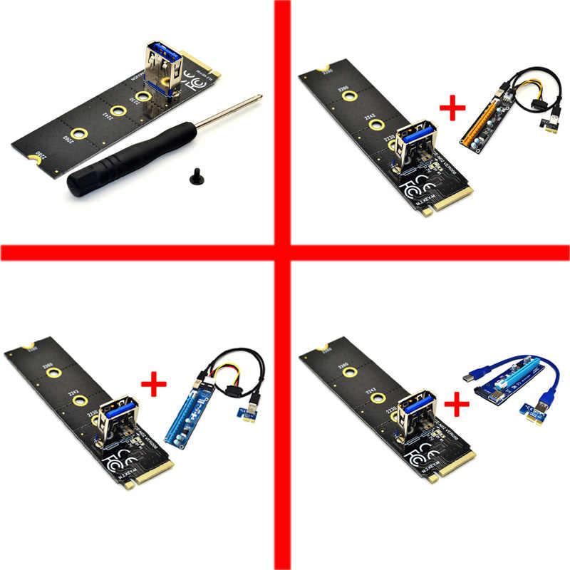 Baru NGFF M.2 untuk Pci-E X16 Slot Transfer Kartu Pertambangan PCIe Riser Kartu VGA Kabel Ekstensi Molex 4Pin 6Pin SATA untuk Miner Antminer