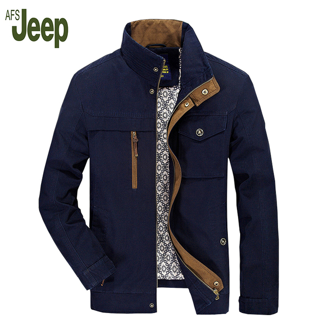 AFS JEEP new arrival spring and autumn fashion casual men jacket large size stand collar solid color men's jacket 162