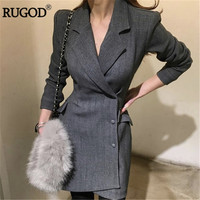 RUGOD 2018 Korean Irregular Office Lady Blazer Business Outwear Women Notched Long Sleeve Thick Long Jacket Coat