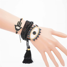 Go2boho MIYUKI Bracelet Evil Eye Hamsa Hand Jewelry Pulseras Green Crystal For Women Tassel Handmade Insta Fashion 2019