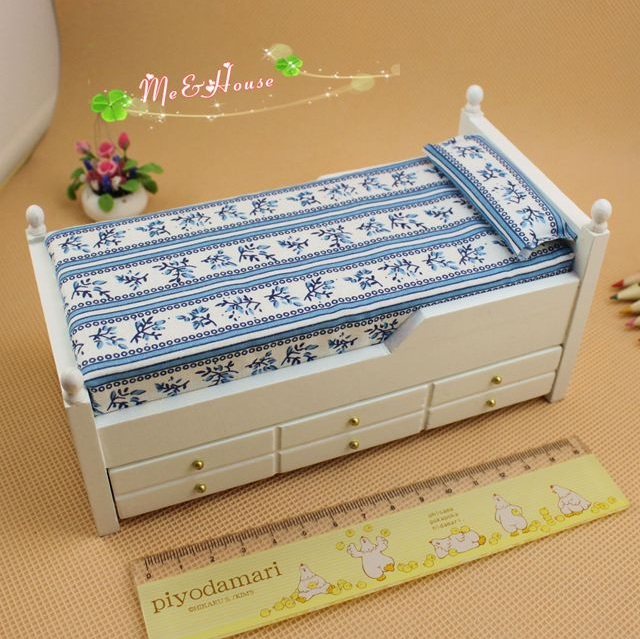 Mini Doll House Accessories Mini Furniture Birch Drawer Bed Children's Bed Dual Color