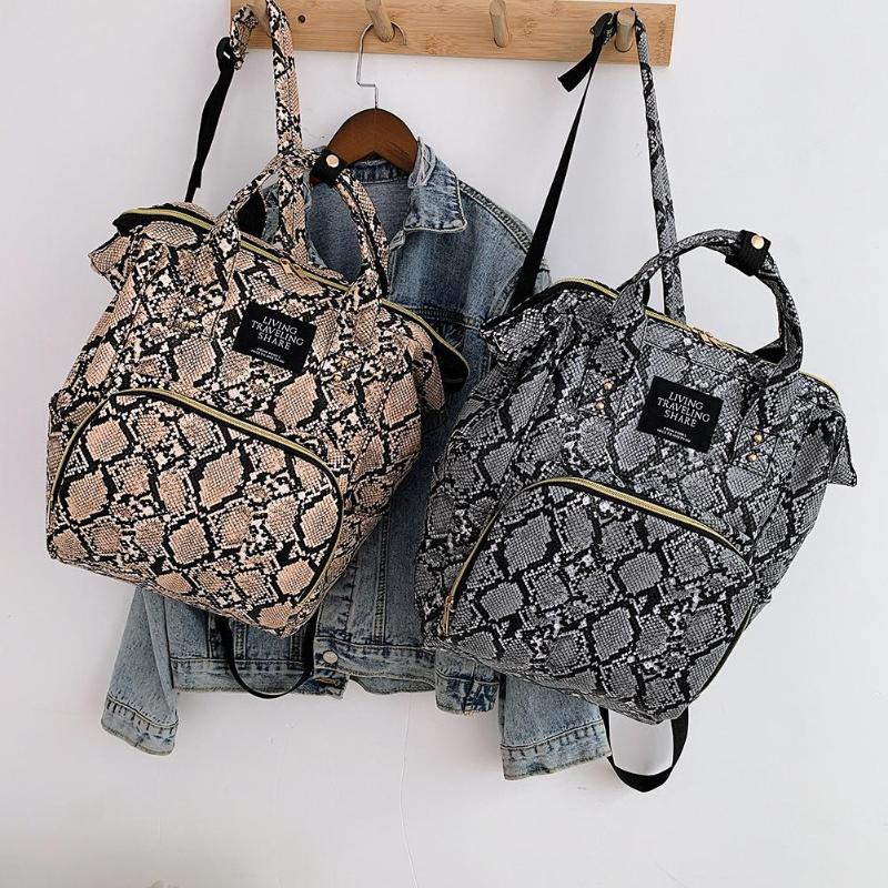 Snake Print Mommy Travel Backpacks Large Capacity PU Leather Maternity Nappy Top-handle Bags Baby Care Nursing Diaper Packs(China)