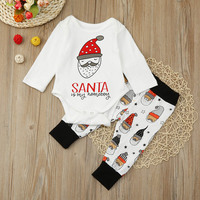 Christmas Baby Clothing Set Xmas Gifts Long Sleeve Rompers Pants Infant Bebe Girl Boy Clothes Sets