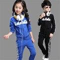 Crianças dos Ternos Do Esporte Das Meninas Dos Meninos Roupas de Marca de Manga Longa Com Zíper Camisola + Calças de Jogging Treino Outfits Conjuntos de Roupas Adolescentes