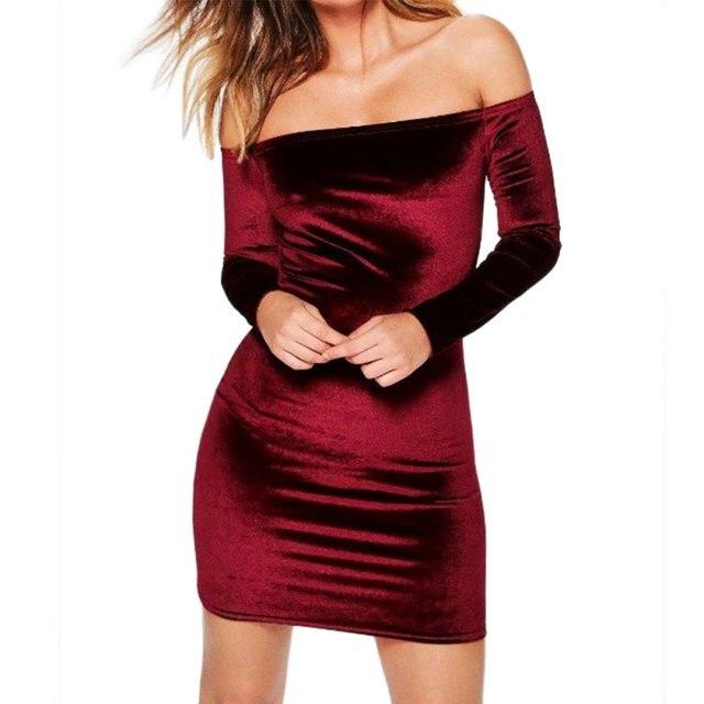 Пикантные с открытыми плечами цвет Красного Вина Оболочка Вельветовое платье Для женщин зимние вечерние с длинным рукавом 2018 Элегантный Карандаш Bodycon женская одежда vestidos
