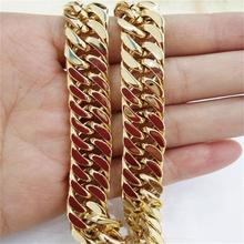 Granny Chic 10mm IP Gold Filled Heavy Stainless Steel Double Curb Cuban Link Rombo Chain Necklaces for Men Jewelry