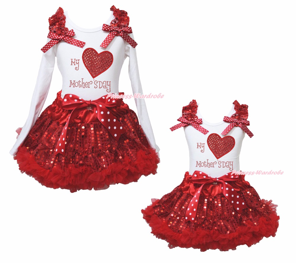My Mother's Day Heart White Top Girl Red Sequin Skirt Outfit Set 1-8Year st patrick s day green clover white top satin trimmed baby girl skirt set 1 8y mapsa0394
