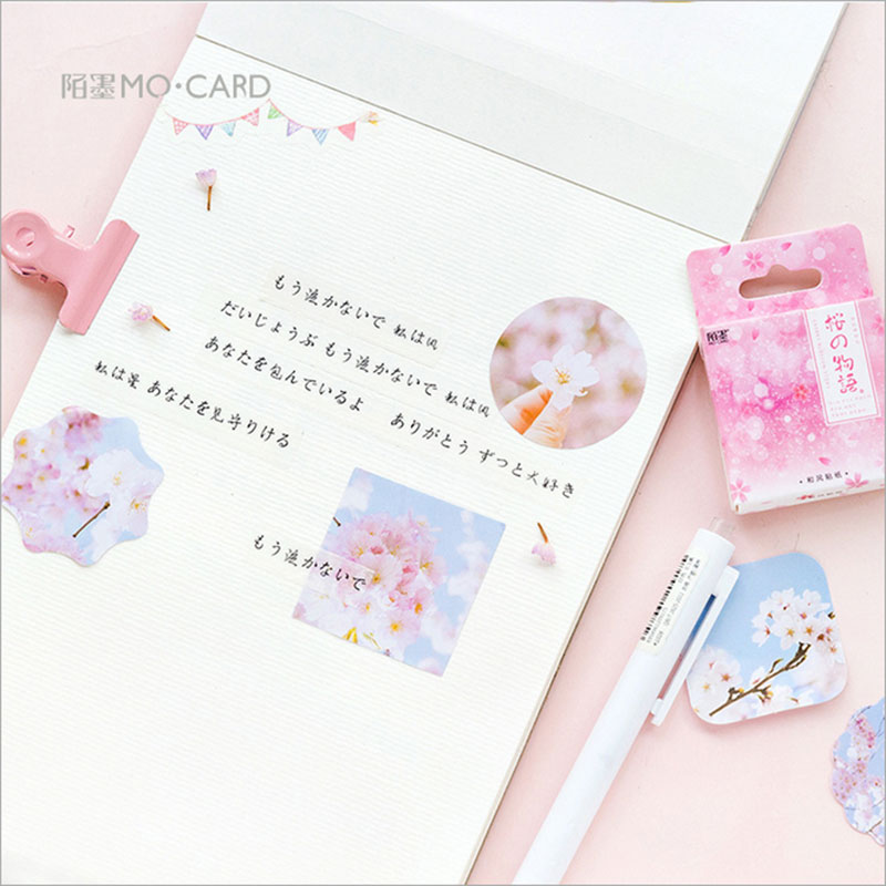 Купить с кэшбэком 45 Pcs/box Creative Sakura's tale mini Paper Decoration DIY Scrapbook Notebook Album seal Sticker Stationery Kawaii Stickers