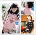 2016 Nueva Muchacha del Otoño del Resorte Vestido de Manga Larga de Doble Botonadura Vestido de la Princesa Niña 2-7 Años Los Niños Ropa de Niños ropa