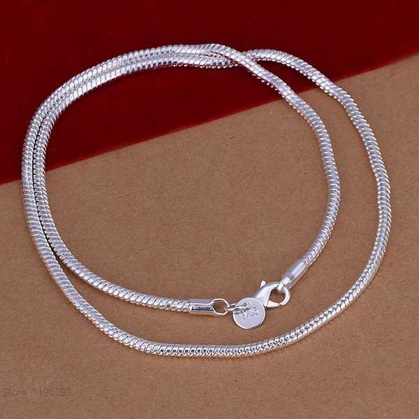 Розничная продажа, 16-24 дюймов, модное очаровательное Стерлинговое Серебро 925 пробы, гладкое ожерелье-цепочка змеиная кожа, ювелирные изделия, подходят для мужчин и женщин, подарок