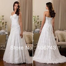 free shipping hot seller new design brand white dress sweetheart bead sequins lace up good bridal gown maggie wedding 2013
