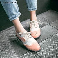 Fashion Women Flats Shoes Oxfords Flower Print Mix Color Shoes Woman Patch Work Ladies Top Quality