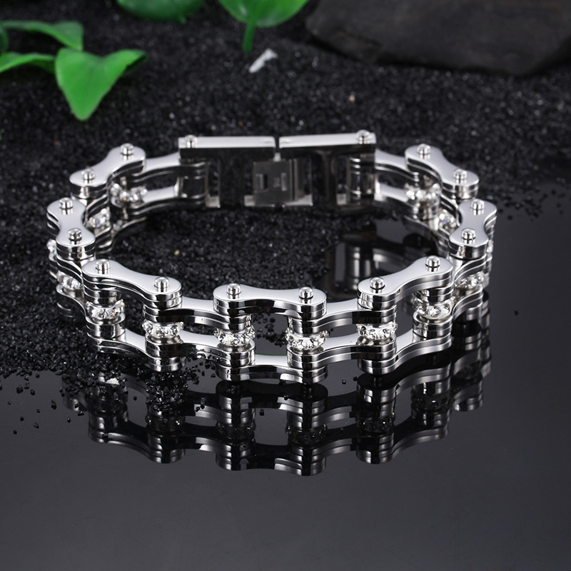 Stainless steel men 's bracelet domineering motorcycle chain bracelet titanium steel bracelet