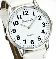 Men Women Casual Simple Black White Leather Deals Cheap Analog Quartz Wrist Watch