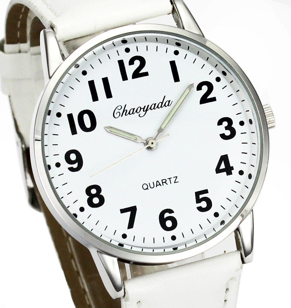 Men Women Casual Simple Black White Leather Deals Cheap Analog Quartz Wrist Watch