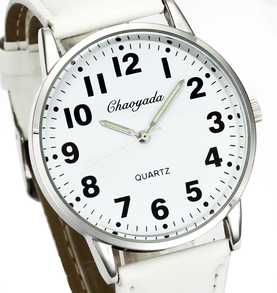 Men Women Casual Simple Black White Leather Female Male Deals Cheap Analog Quartz Wrist Watch 1