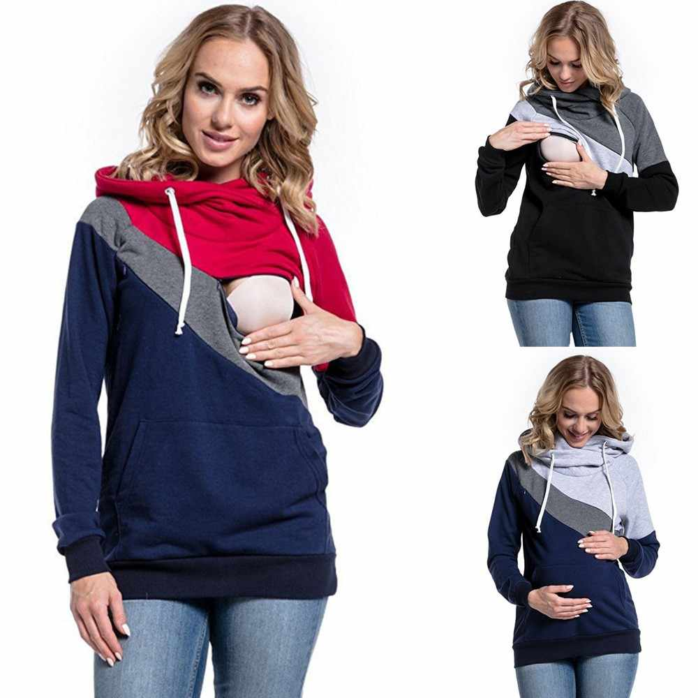 885a93711d565 MUQGEW Clothes for Pregnant Women's Pregnant Nursing Baby Maternity Joint  Hooded Tops Blouse Outwear Clothes maternity