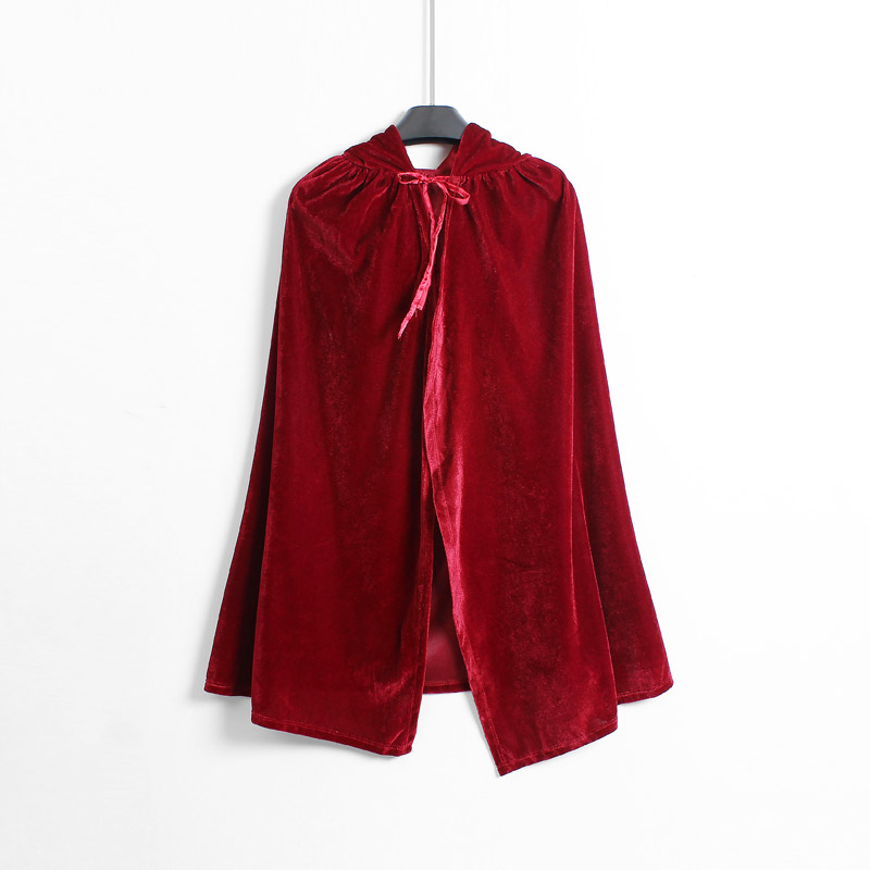 Little Red Riding Hood Cloak for Girls Dark Red Velvet Halloween Gift Cosplay Dress up