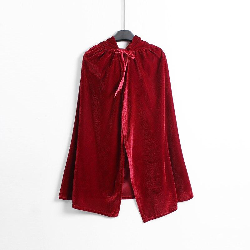 Poco Cappuccio Di Guida Rosso Mantello Per Le Ragazze Rosso Scuro Velluto Regalo Di Halloween Cosplay Dress Up Firm In Structure