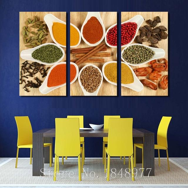 3 Immagine Moderna Pittura A Olio Spezie Da Cucina Wall Art ...