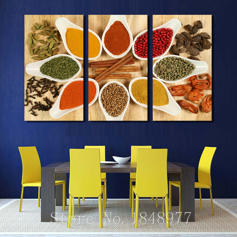 3 Picture Modern Oil Painting Kitchen Spices Wall Art