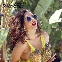 WHO CUTIE 2018 Vintage Rhinestone Round Sunglasses Women Retro Luxury Crystal Diamond Colorful Circle 80S Sun