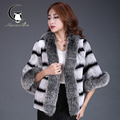 2016 winter new double-color Rex Rabbit hair short section of the entire leather fur coat with fox fur collar