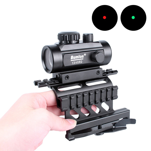 Tactical Holographic 1x40mm Red Green Dot Optic Sight + AK Serie Rail Side Mount Quick QD Style 20mm Detach weaver rail (5)
