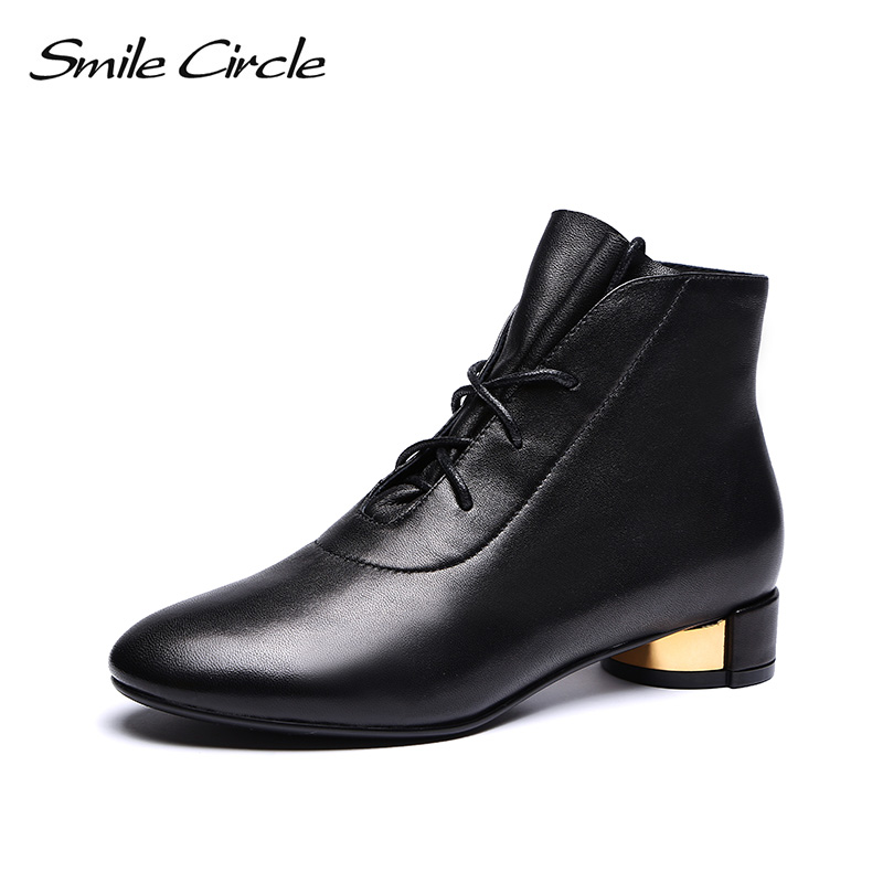 Smile Circle High-quality Ankle Boots women Genuine Leather Simple Lace-Up Short Boots 2018 Autumn round toe Ladies shoes Smile Circle High-quality Ankle Boots women Genuine Leather Simple Lace-Up Short Boots 2018 Autumn round toe Ladies shoes