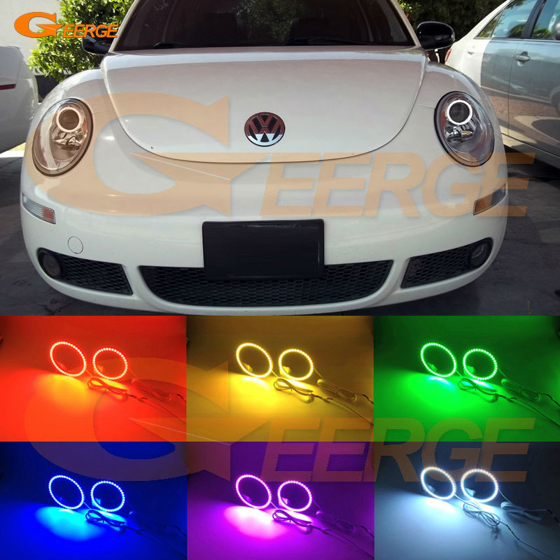 For Volkswagen VW Beetle 2006 2007 2008 2009 2010 Excellent Multi-Color Ultra bright RGB LED Angel Eyes kit car usb sd aux adapter digital music changer mp3 converter for volkswagen beetle 2009 2011 fits select oem radios