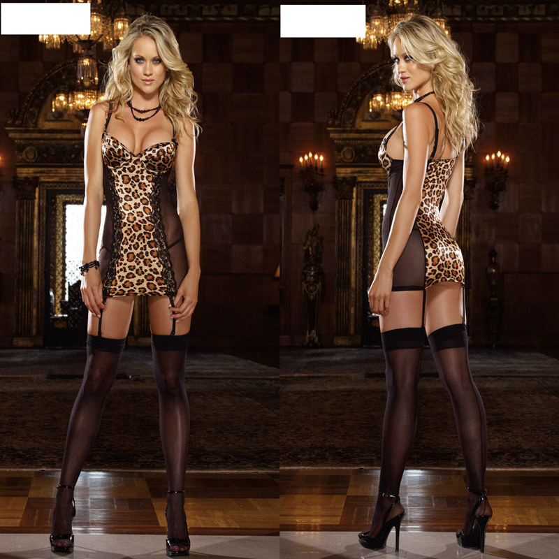 2018 New Women Sexy Lingerie Hot Erotic Leopard Lace Erotic Costumes Underwear Dress Trading Deep V Sex Clothes Lenceria Sexy