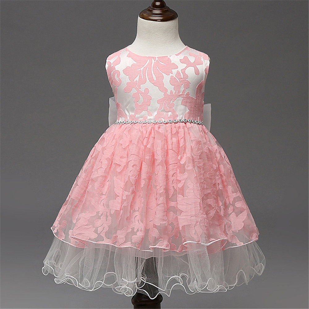 2016 Princess Flower Lace Tulle 1-8 year old birthday girl dress Children Clothing kids clothes Design fairy Dresses for Girls 2017 lovely toddler girl dress princess stripe tutu baptism child clothes 1 year birthday baby girls dresses for infant 2 year