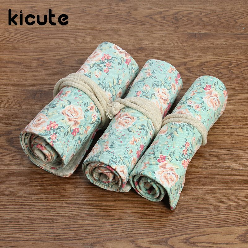 Kicute Unique Floral Flower Canvas Roll Up Pencil Case 36/48/72 Hole Large Capacity Pen Brush Holder Storage Pouch School Supply цена