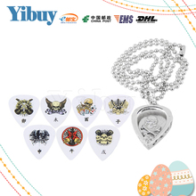 Yibuy Zinc Alloy Metal Silver Heart Shape Guitar Pick Pendant Holder Necklace