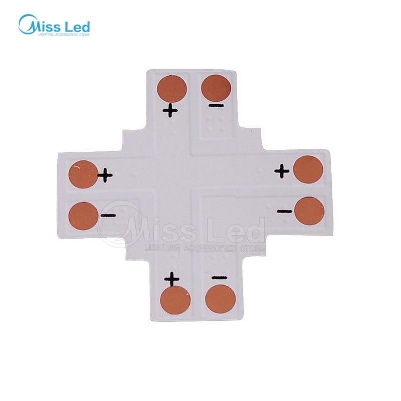 10 Pack 10 Mm Plus Shaped 4 Way Solderless Connector Splitter For 5050 LED Strip