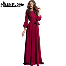 VENFLON New Vintage Winter Dress Women 2019 Casual Plus Size Slim Maxi Dress Female Elegant Solid Long Party Dress 2XL(China)