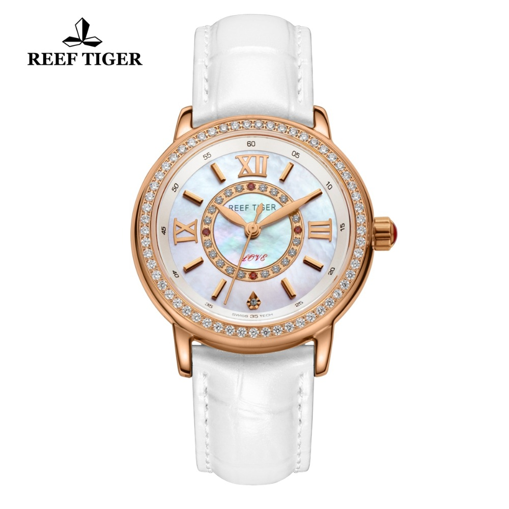Reef Tiger RT Women Fashion Watches Diamond Rose Gold Leather Strap Luxury Quartz Watches for Ladies