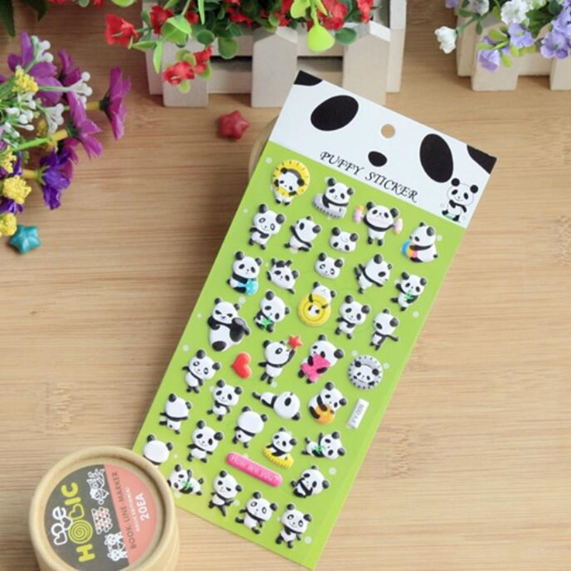 Diy cute kawaii 3d bubble sponge panda pattern stickers for scrapbooking home sticker for photo album