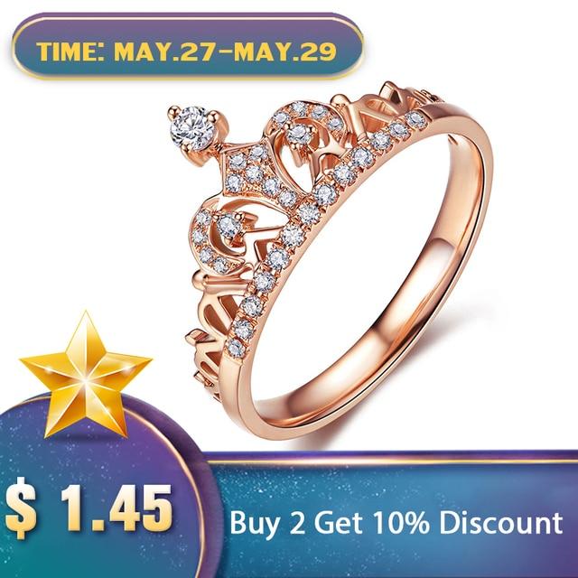 be287421865b UMODE exquisito anillo en forma De corona Color oro rosa CZ anillos para mujeres  moda Color Aneis De Ouro Zirconia joyería UR0217