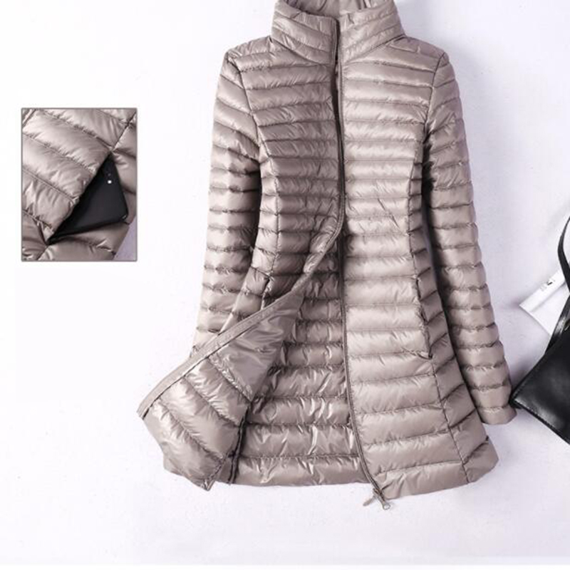 Women Winter Jacket 2018 New Ultra Light 90% White Duck   Down   Jacket Slim Women Thin Winter Puffer Jacket Medium Long   Down     Coat