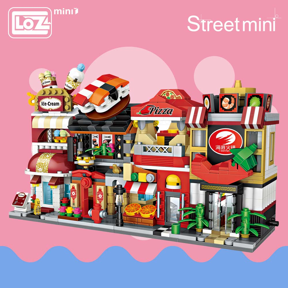 LOZ Mini Blocks Building Blocks Architecture DIY Bricks City Series Mini Street Model Store Shop Assembly Toy Kid Gift 1625-1628 assembly mini street store blocks sembo cute bar drink small shop model toy luxury educational kids gift xmas present sd6038