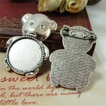 10pcs/lot Vintage Silver Tiny Bear Brooches Cabochon Settings 20*20mm Animal Base Jewelry Findings