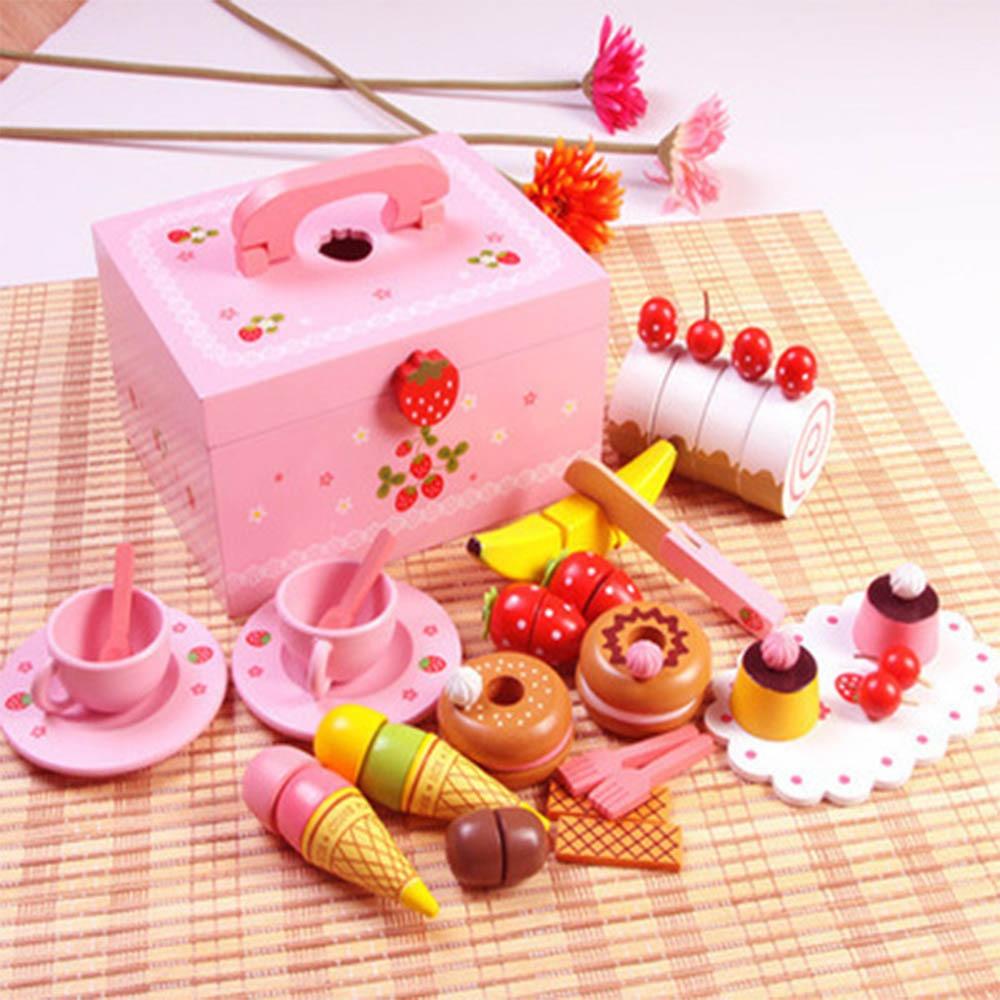 Bébé jouets Simulation fraise gâteau/après-midi thé ensemble coupe jeu semblant jouer cuisine nourriture en bois jouets enfant cadeau d'anniversaire