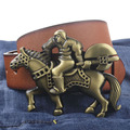 Knight style buckle PU leather belt cavalier man belts free shipping fashion rider buckle
