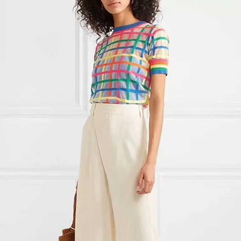 Летний Тонкий Стиль пуловер свитер бренд дизайн плед узор трикотажные топы 2019 лето женская одежда цвет плед тонкий свитер