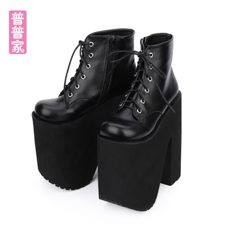 Princess sweet lolita shoes Punk wind Shoes Muffin Thick-soled Queen's Shoes Super High-heel Tie fashion and cool women pu6011